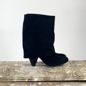 Gianni Bini Black Suede Fold Over Boots